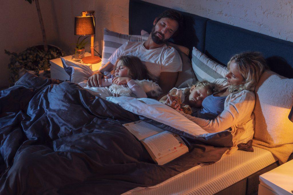 family sleeping night